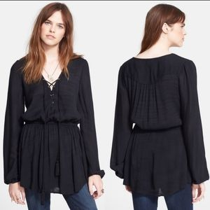 Free People Wildest Moments Lace Up Black Tunic